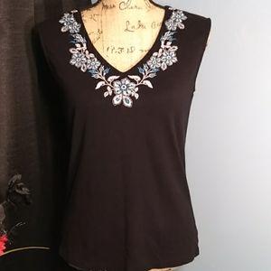 Karen Scott Black Sleeveless Top with Embroidery